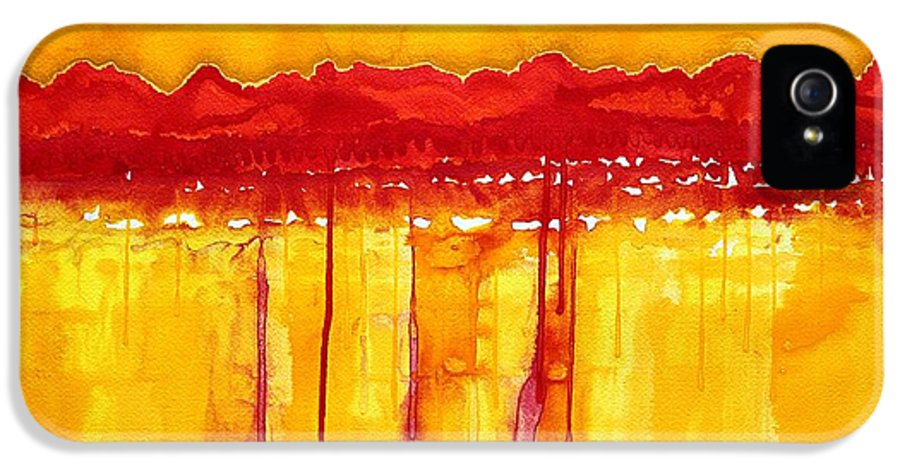 Mountains IPhone 5 Case featuring the painting Rocky Mountains Original Painting by Sol Luckman