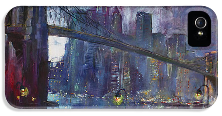 Brooklyn Bridge IPhone 5 Case featuring the painting Romance By East River Nyc by Ylli Haruni