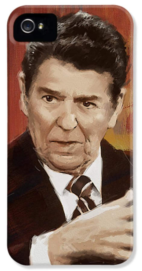 Rancho Del Cielo IPhone 5 Case featuring the painting Ronald Reagan Portrait 2 by Corporate Art Task Force