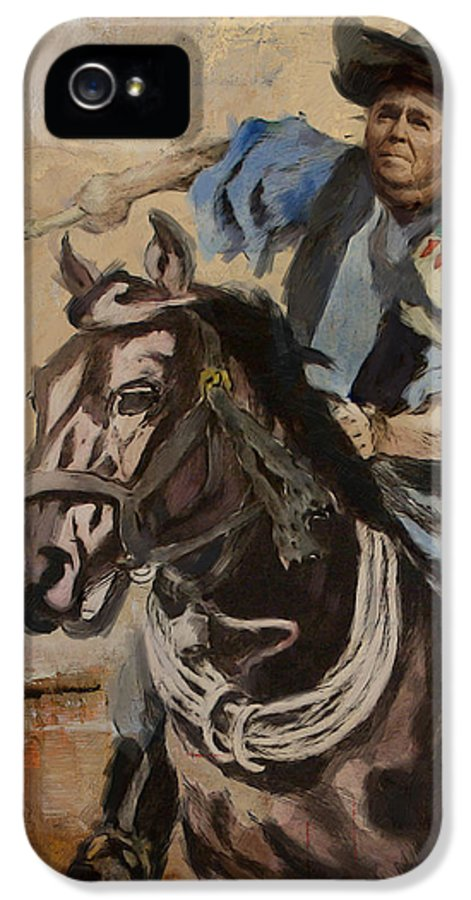 Rancho Del Cielo IPhone 5 Case featuring the painting Ronald Reagan Portrait 3 by Corporate Art Task Force