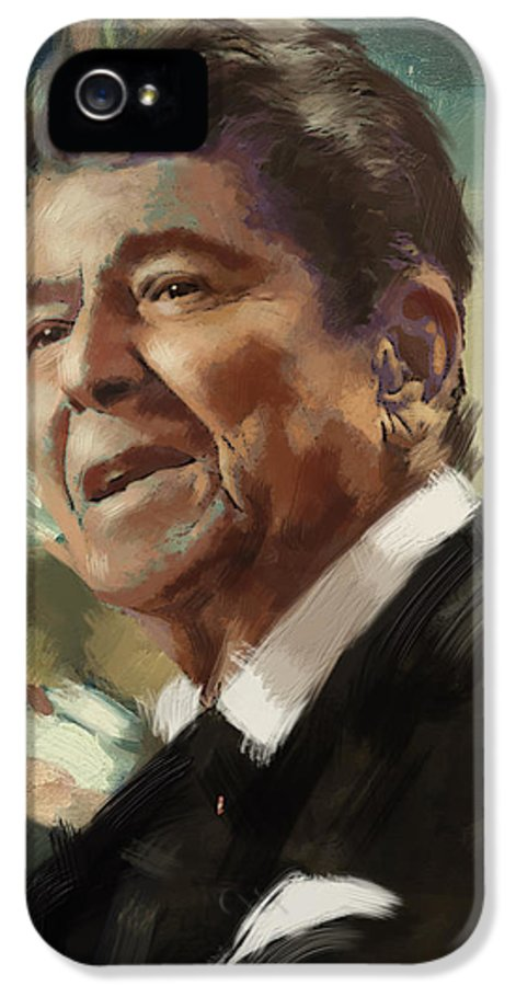 Rancho Del Cielo IPhone 5 Case featuring the painting Ronald Reagan Portrait 5 by Corporate Art Task Force
