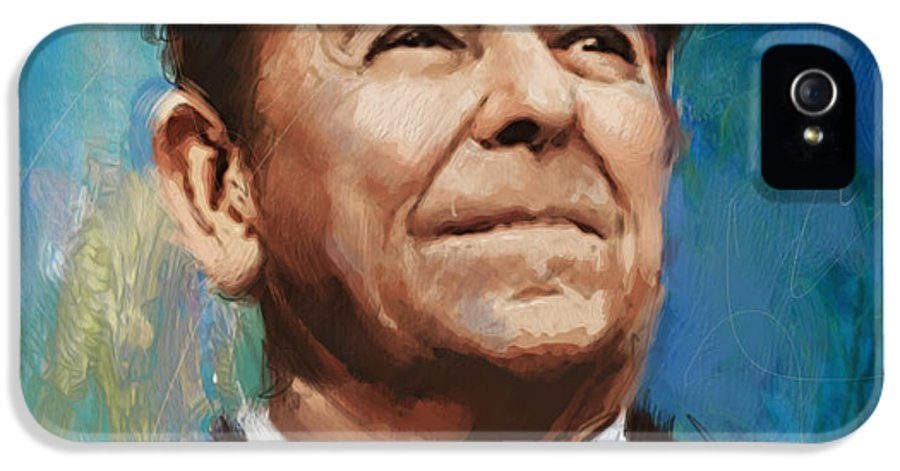 Rancho Del Cielo IPhone 5 Case featuring the painting Ronald Reagan Portrait 6 by Corporate Art Task Force