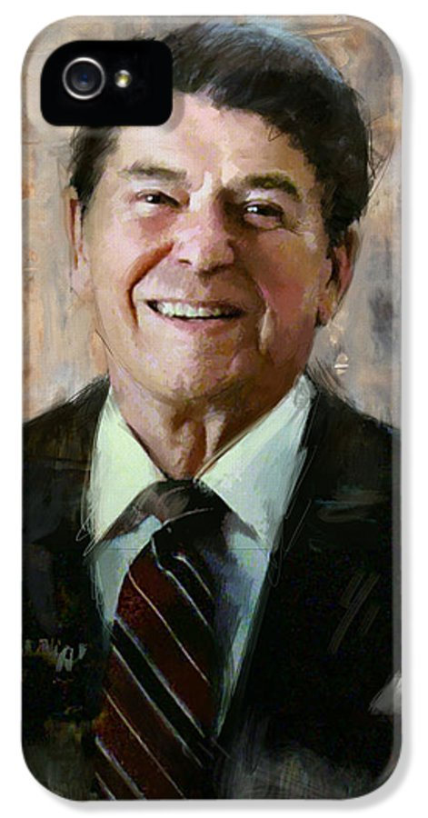 Rancho Del Cielo IPhone 5 Case featuring the painting Ronald Reagan Portrait 7 by Corporate Art Task Force
