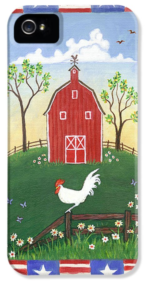 Folk Art Rooster IPhone 5 Case featuring the painting Rooster Americana by Linda Mears
