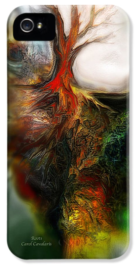 Abstract IPhone 5 Case featuring the mixed media Roots by Carol Cavalaris
