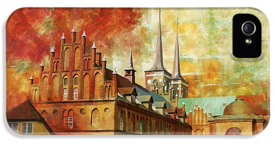 Denmark Art IPhone 5 Case featuring the painting Roskilde Cathedral by Catf
