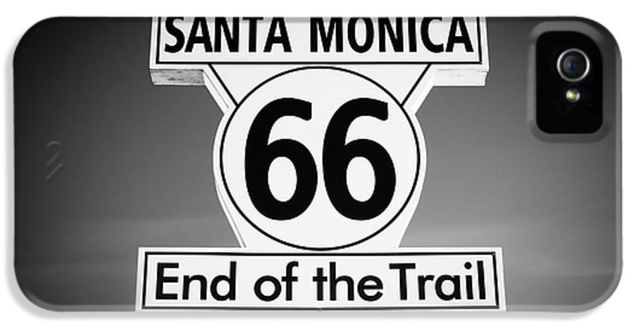 America IPhone 5 Case featuring the photograph Route 66 Sign In Santa Monica In Black And White by Paul Velgos