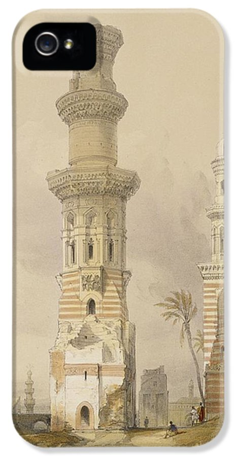 Ruins IPhone 5 Case featuring the painting Ruined Mosques In The Desert by David Roberts