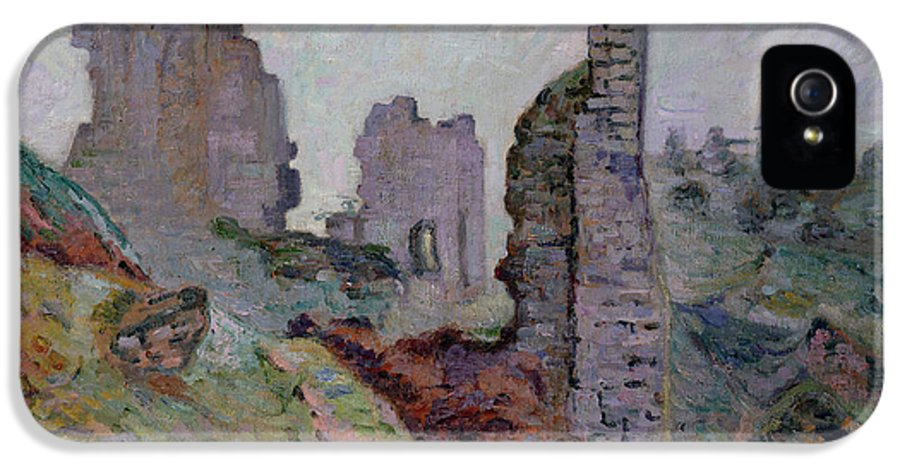 Ruin IPhone 5 Case featuring the painting Ruins In The Fog At Crozant by Jean Baptiste Armand Guillaumin