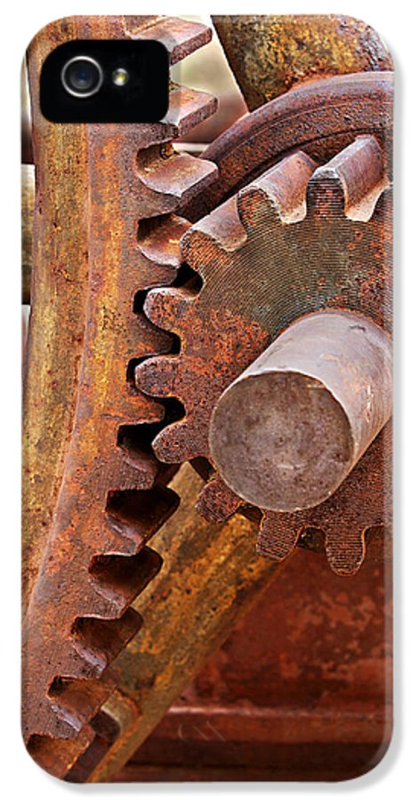 Gears IPhone 5 Case featuring the photograph Rusty Metal Gears by Phyllis Denton