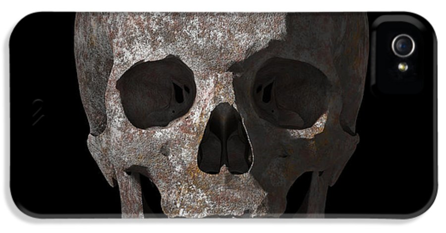 Old IPhone 5 Case featuring the digital art Rusty Old Skull by Vitaliy Gladkiy