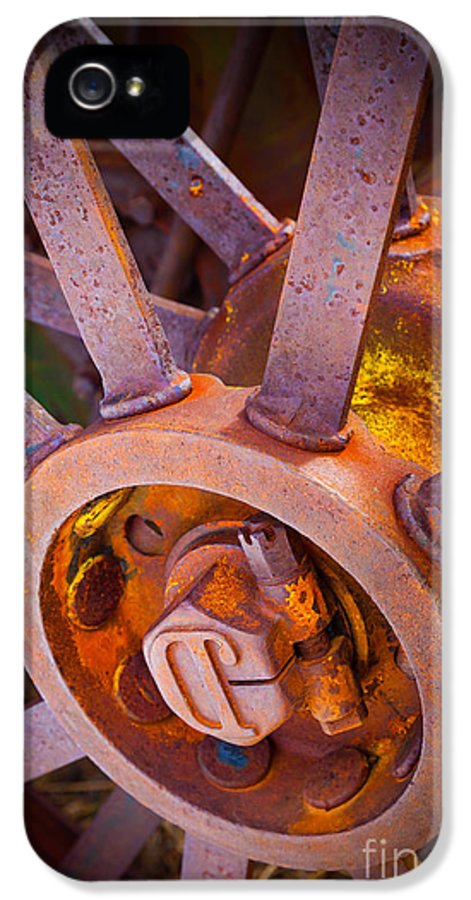 Agricultural IPhone 5 Case featuring the photograph Rusty Spokes by Inge Johnsson