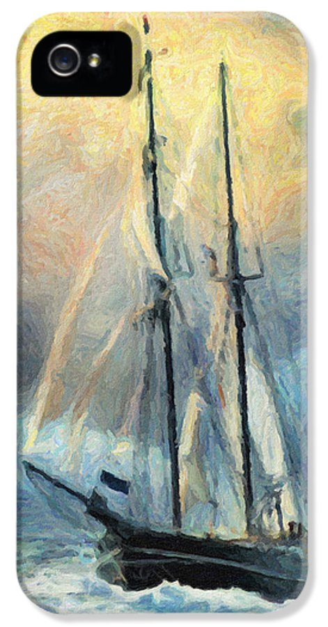 Oil Painting IPhone 5 Case featuring the painting Sail Away To Avalon by Taylan Apukovska