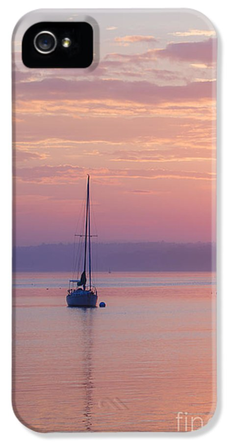 Sailboat IPhone 5 Case featuring the photograph Sailboat At Sunrise In Casco Bay Maine by Diane Diederich