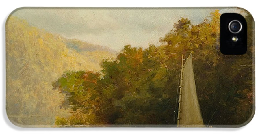 Boat IPhone 5 Case featuring the painting Sailboat On River by Arthur Quartley