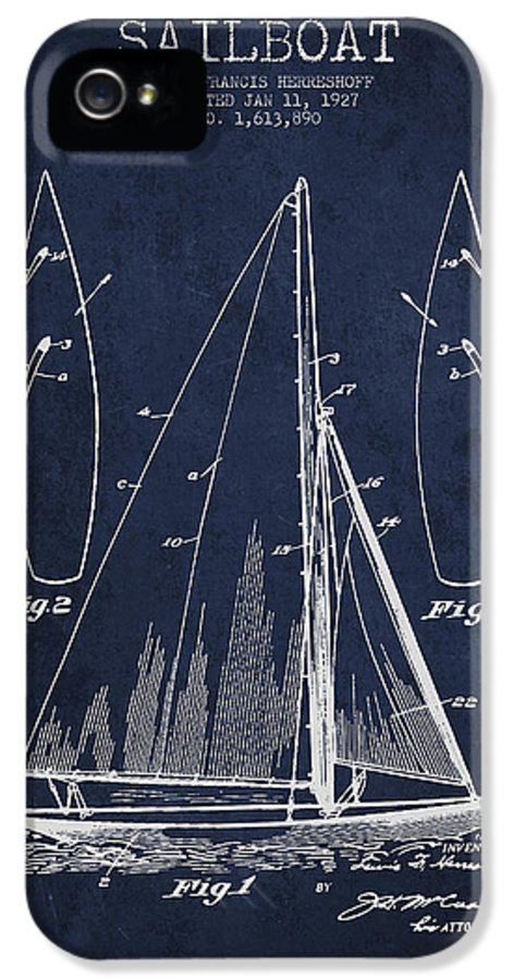 Sailboat IPhone 5 Case featuring the digital art Sailboat Patent Drawing From 1927 by Aged Pixel