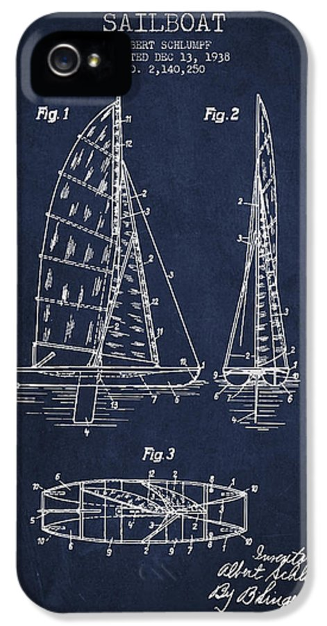 Sailboat IPhone 5 Case featuring the digital art Sailboat Patent Drawing From 1938 by Aged Pixel