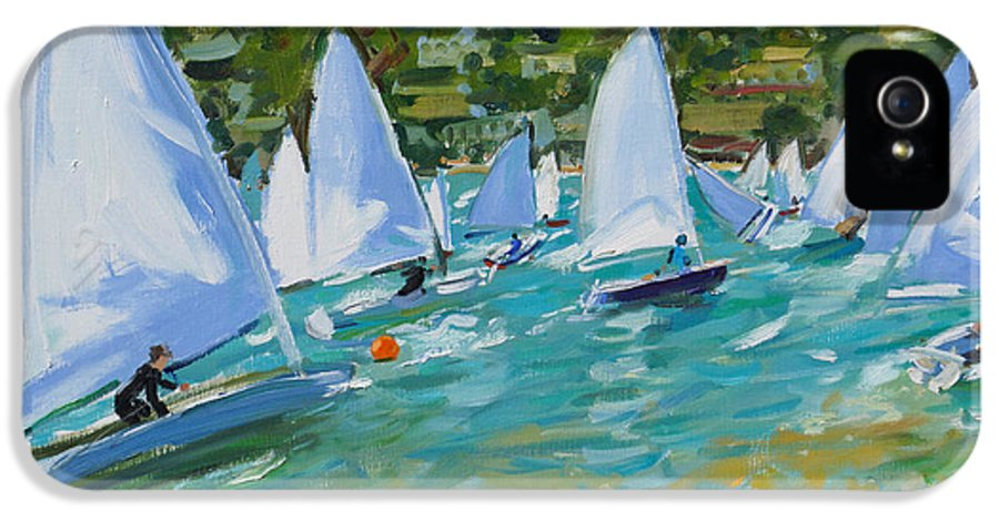 Sailboat IPhone 5 Case featuring the painting Sailboat Race by Andrew Macara