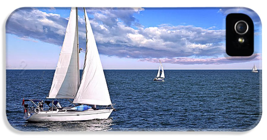 Boat IPhone 5 Case featuring the photograph Sailboats At Sea by Elena Elisseeva