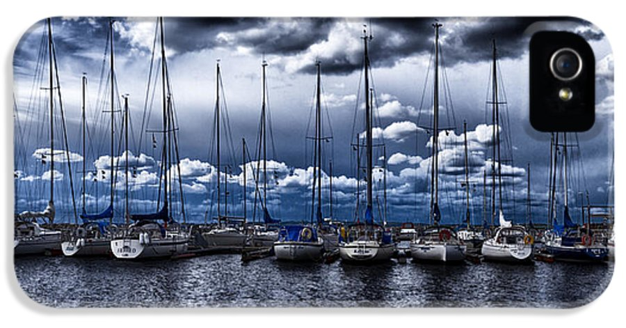Blue IPhone 5 Case featuring the photograph Sailboats by Stelios Kleanthous