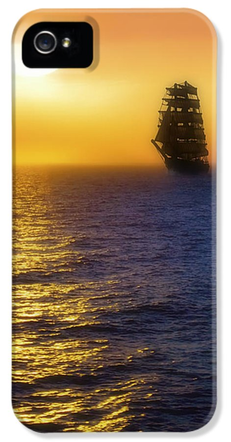 Sailing Ship IPhone 5 Case featuring the photograph Sailing Out Of The Fog At Sunrise by Jason Politte