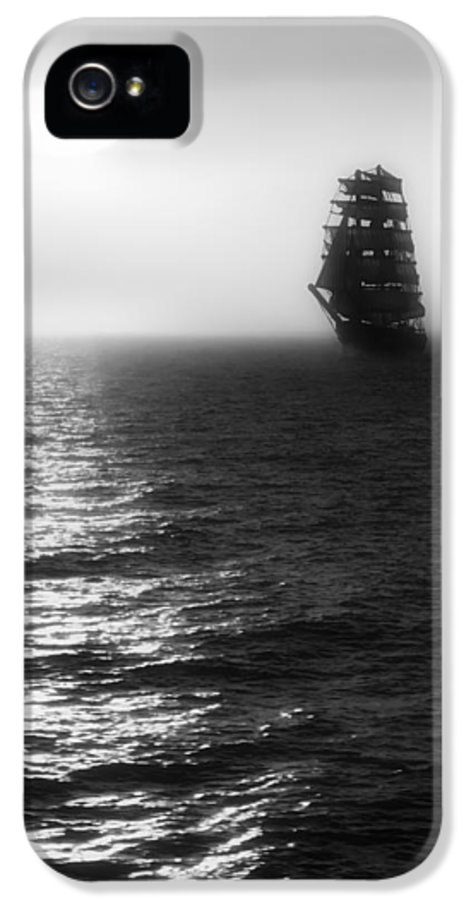 Sailing Ship IPhone 5 Case featuring the photograph Sailing Out Of The Fog - Black And White by Jason Politte