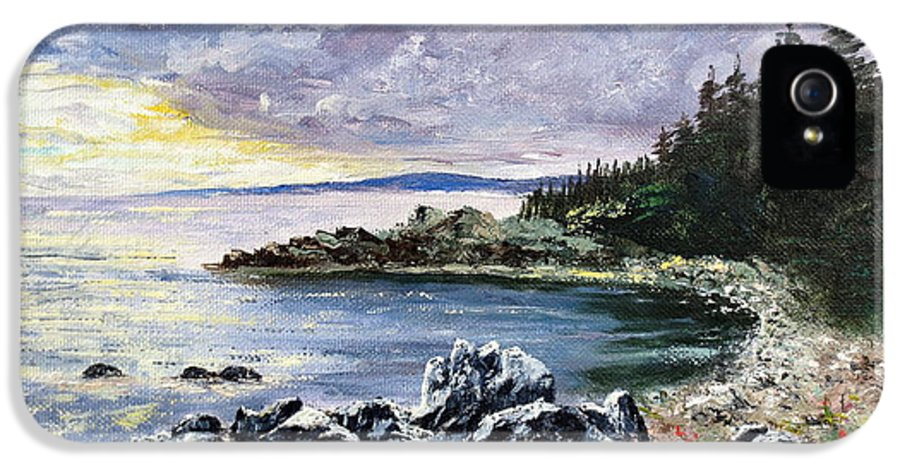 Seascape IPhone 5 Case featuring the painting Salisbury Cove by Lee Piper