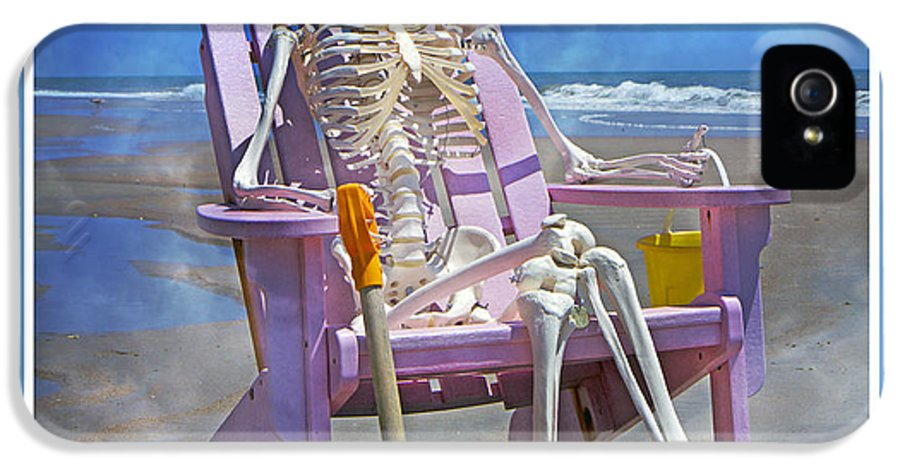 Skeleton IPhone 5 Case featuring the photograph Sam Enjoys The Beach -- Again by Betsy Knapp