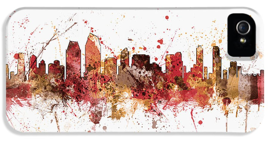 United States IPhone 5 Case featuring the digital art San Diego California Skyline by Michael Tompsett