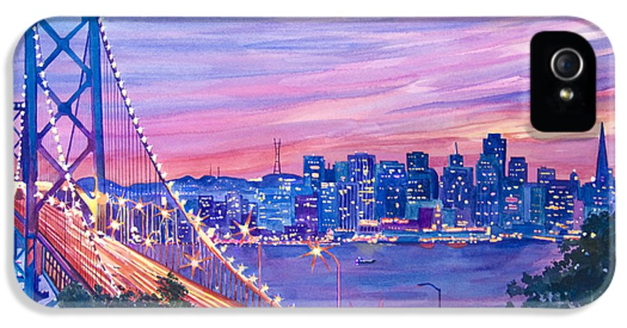 Bridges IPhone 5 Case featuring the painting San Francisco Nights by David Lloyd Glover