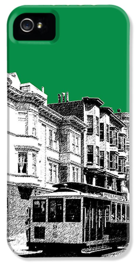 Architecture IPhone 5 Case featuring the digital art San Francisco Skyline Cable Car 2 - Forest Green by DB Artist