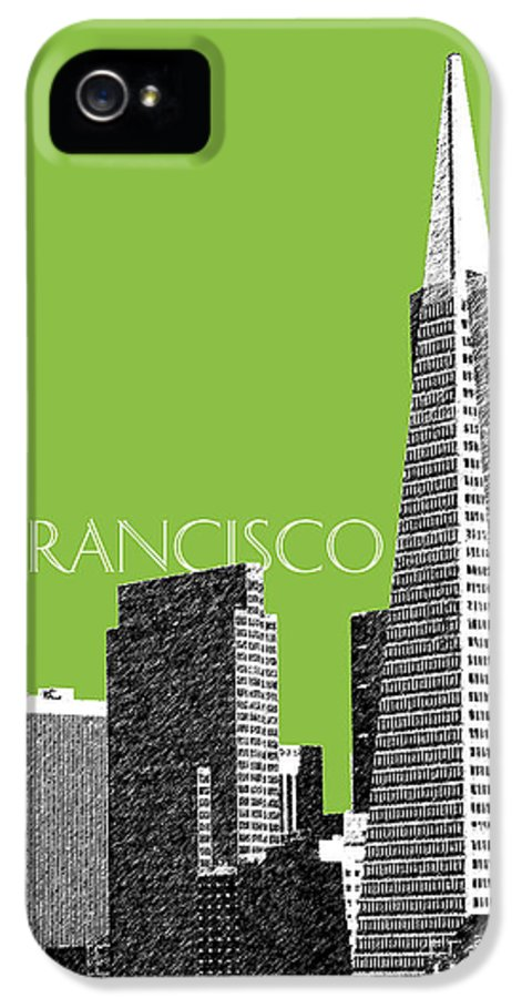 Architecture IPhone 5 Case featuring the digital art San Francisco Skyline Transamerica Pyramid Building - Olive by DB Artist