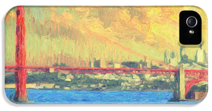 San Francisco IPhone 5 Case featuring the painting San Francisco by Taylan Apukovska