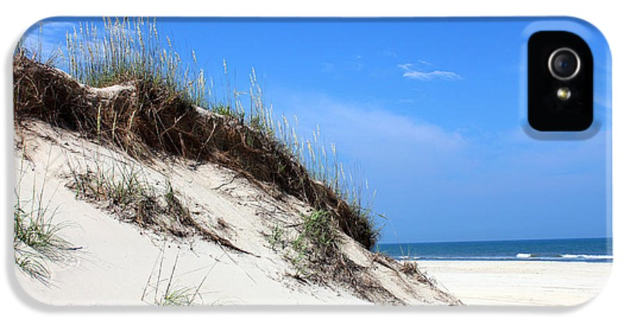 Sand Dunes Of Corolla Outer Banks Obx North Carolina Currituck Duck Ocean Sand View Vista Water Sky Remote Pristine IPhone 5 Case featuring the mixed media Sand Dunes Of Corolla Outer Banks Obx by Design Turnpike