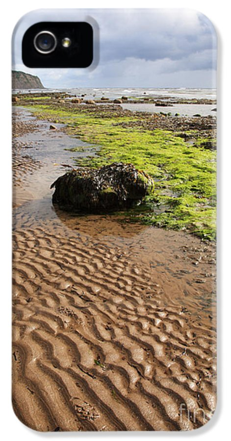 Beach IPhone 5 Case featuring the photograph Sand Patterns On Robin Hoods Bay Beach by Deborah Benbrook