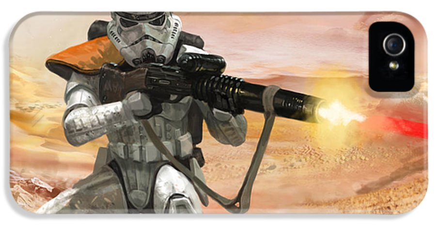 Star Wars IPhone 5 Case featuring the digital art Sand Trooper - Star Wars The Card Game by Ryan Barger