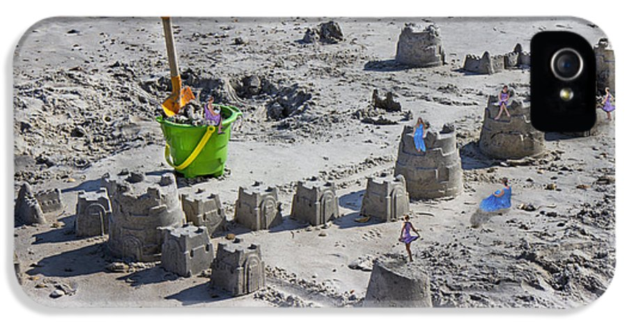 Sandcastle IPhone 5 Case featuring the digital art Sandcastle Squatters by Betsy Knapp
