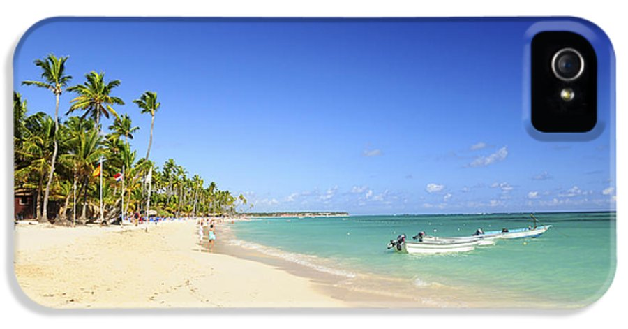 Sea IPhone 5 Case featuring the photograph Sandy Beach On Caribbean Resort by Elena Elisseeva