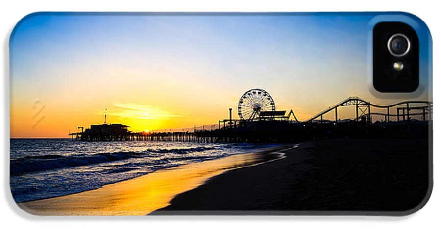 America IPhone 5 Case featuring the photograph Santa Monica Pier Pacific Ocean Sunset by Paul Velgos