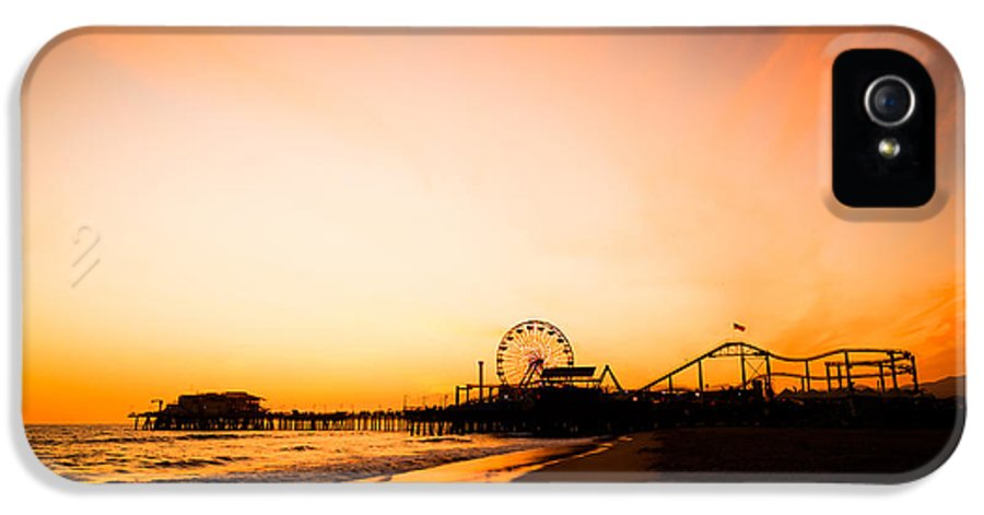 America IPhone 5 Case featuring the photograph Santa Monica Pier Sunset Southern California by Paul Velgos