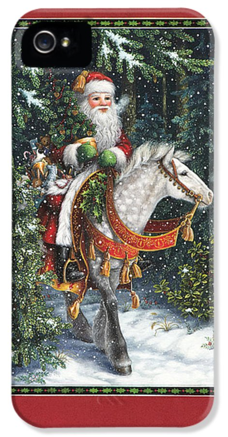 Santa Claus IPhone 5 Case featuring the painting Santa Of The Northern Forest by Lynn Bywaters