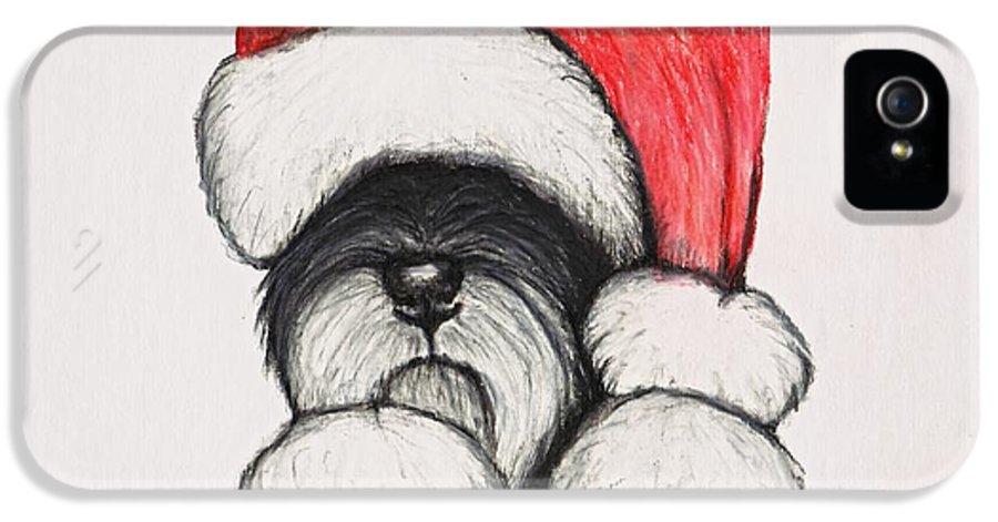 Santa IPhone 5 Case featuring the drawing Santa Schnauzer by Katerina A Cechova
