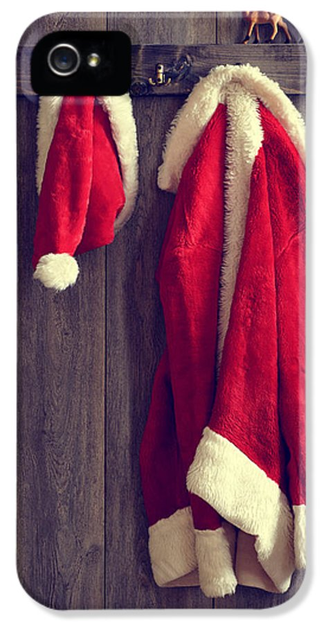Santa IPhone 5 Case featuring the photograph Santa's Hat And Coat by Amanda Elwell