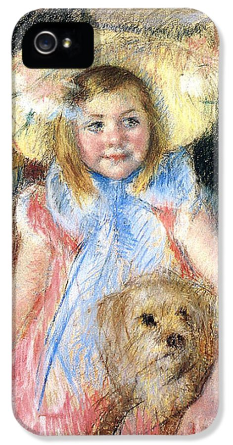 Young Girl IPhone 5 Case featuring the painting Sara And Her Dog by Mary Stevenson Cassatt