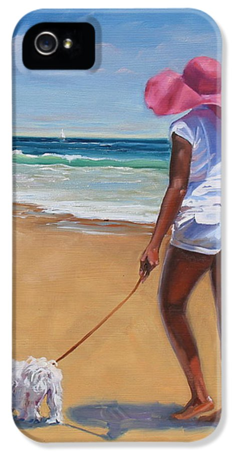 Seascape IPhone 5 Case featuring the painting Sassy by Laura Lee Zanghetti
