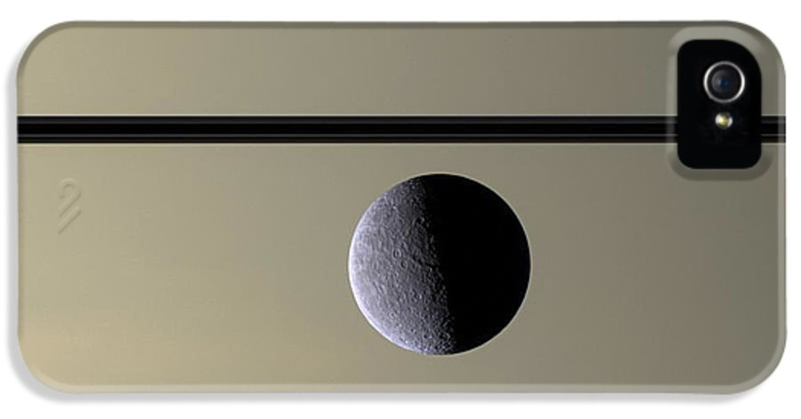 3scape Photos IPhone 5 Case featuring the photograph Saturn Rhea Contemporary Abstract by Adam Romanowicz