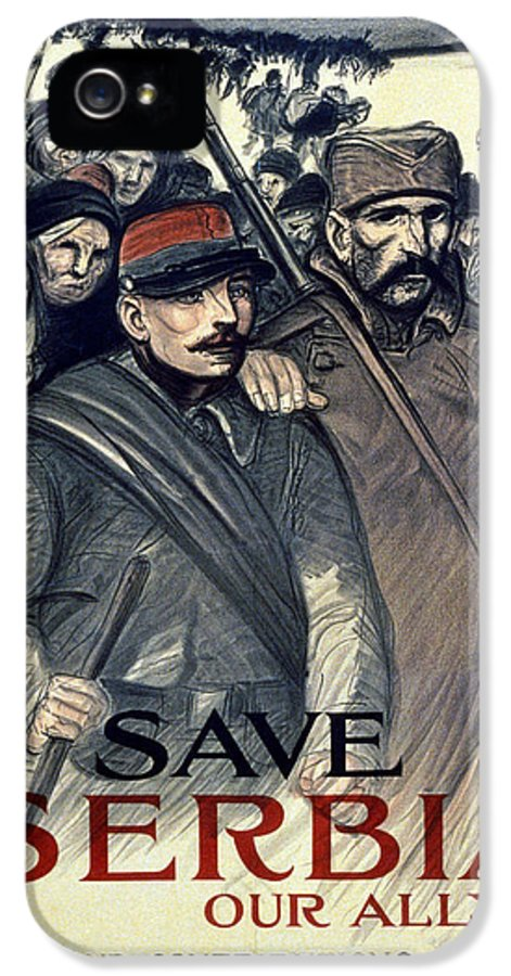 Graphic IPhone 5 Case featuring the painting Save Serbia Our Ally by Theophile Alexandre Steinlen