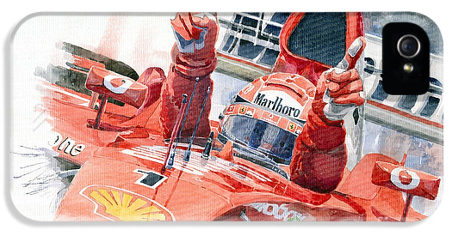 Watercolor IPhone 5 Case featuring the painting Scuderia Ferrari Marlboro F 2001 Ferrari 050 M Schumacher by Yuriy Shevchuk