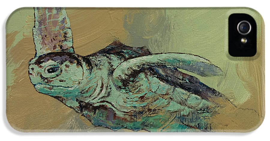 Michael Creese IPhone 5 Case featuring the painting Sea Turtle by Michael Creese