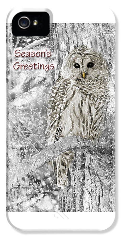 Owl IPhone 5 Case featuring the photograph Season's Greetings Card Winter Barred Owl by Jennie Marie Schell